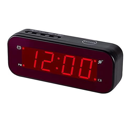 J&F ZHU Chaorong LED Réveil Réglage Facile et à Piles Seulement Grands Chiffres Rouges pour Chambre à Coucher/Salon/Voyage (Noir)