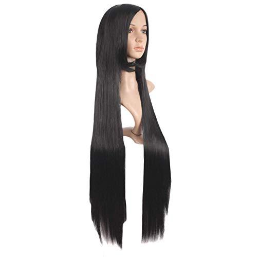 Peluca de pelo negro de 40 pulgadas de largo recto para disfraz de fiesta Cosplay