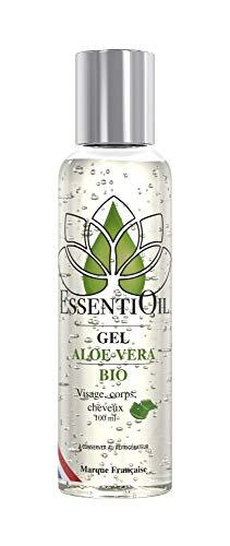 GEL D'ALOE VERA BIO - 100% pur et naturel - Soins pour les cheveux gras à secs - Tous types de peaux - 100mL - Marque Française - Essentioil