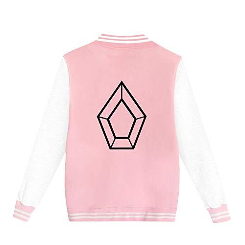 YamYamdan Pentagon Pullover Sweat-Shirt à Manches Longues for Femmes colorées avec Poches Kangourou Unisexe (Color : Pink02, Size : XXXL)