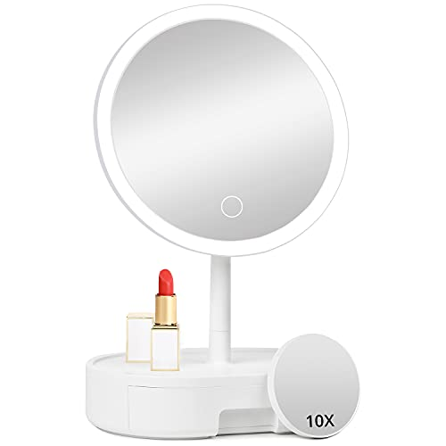 Personal Lighted Makeup Mirror with Lights - Fabuday Rechargeable Led Round Mirror with 3 Color Lighting Modes, Light Up Mirror with 10X Magnification, Lighting Adjustable Desk Mirror with Storage