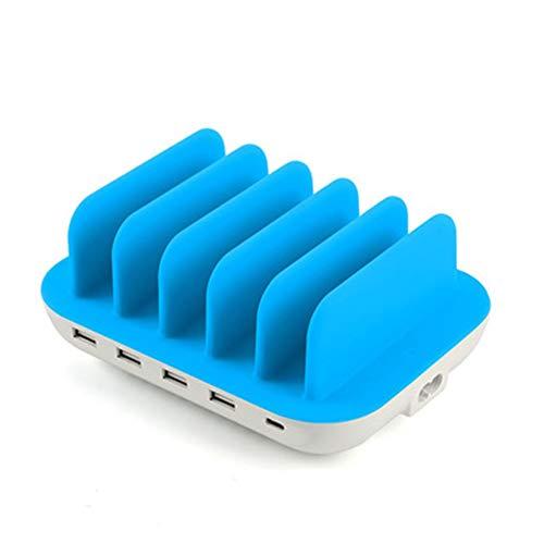 Seihoae Estación de Acoplamiento Organizador de Cargador múltiple, estación de Carga de Puertos USB 60W7 para múltiples Dispositivos, Carga rápida con Control de Calidad 3.0 7 Cables incluidos, A