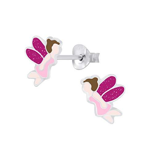 Pendientes de plata de ley 925 con alas rosadas