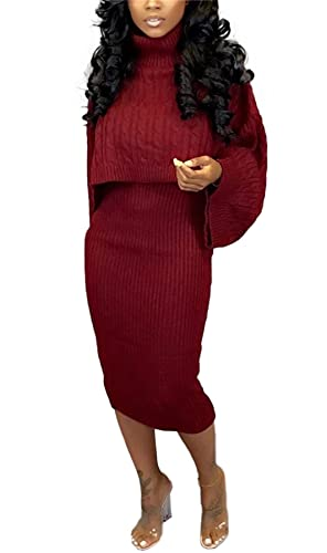 Womens Fall Rib-Knit Pullover Sweater Top & Long Dress Sets Jogger Suits 2 Piece Outfits