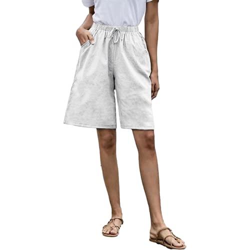 Fainash Pantalones Cortos de Cintura Alta para Mujer, Cintura elástica, Informales, cómodos, para Acampar al Aire Libre, Pantalones Cortos Rectos básicos de Gran tamaño, Todo fósforo S
