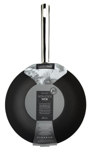 KitchenCraft Master Class Professional Non Stick Carbon Steel Induction Safe Wok, 30 cm