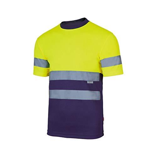 Velilla Camiseta Manga Corta Bicolor de Alta Visibilidad y Cintas Reflectantes. EN ISO 13688:2013 / EN ISO 20471:2013 + A1:2016. Unisex Marino + Amarillo A.V. S