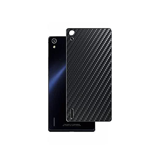 Vaxson 2 Unidades Protector de pantalla Posterior, compatible con HUAWEI Ascend P7, Película Protectora Espalda Skin Cover - Fibra de Carbono Negro