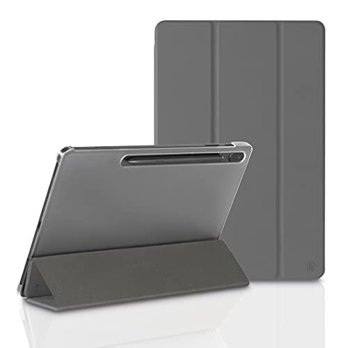 Hama Funda para Samsung Galaxy Tab S7 FE/S7+ 31,5 cm 12,4 Pulgadas (Funda con Tapa para Samsung Tablet, Funda con función Atril, Parte Trasera Transparente, Cubierta magnética), Color Gris