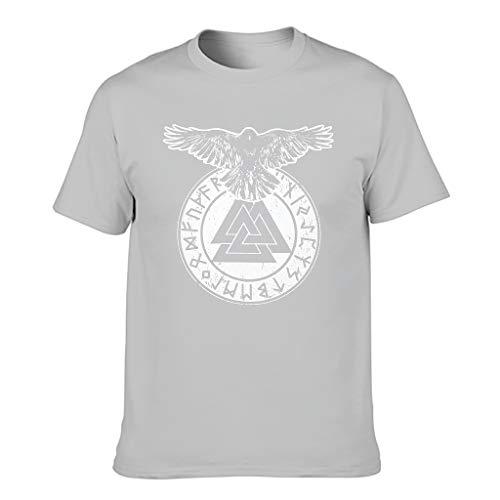 Camiseta de cuello redondo para hombre, diseño vikingo Odin Raven Valknut escandinavo, estampado tribal Gris plateado. XXL