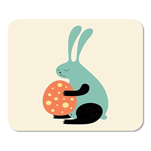 Weinlese-Karikatur-Osterhase süßes Halten-Ei niedlich reizende Hauptschule-Spiel-Spieler-Computer-Arbeiter MouseMat Mouse Padch