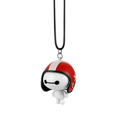 Lovely Car Decoration Car Pendant Cute Helmet Baymax Robot Doll Hanging Ornaments Automobiles Rearview Mirror Suspension Decoration Accessories Gifts Car Interior Supplies ( Color Name : Red White )