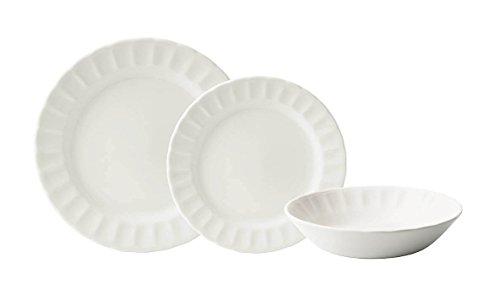 Corona Caribe Vajilla, Porcelana, Blanco, 23x29x30 cm, 18 Unidades