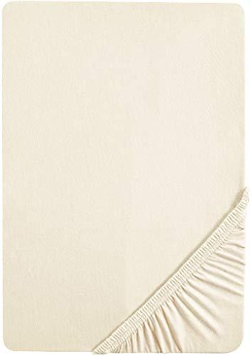 biberna 2744/555/040 Biber Spannbetttuch, Reaktiv gefärbt, nach Öko-Tex Standard 100, ca. 90 x 190 cm bis 100 x 200 cm, Farbe: natur