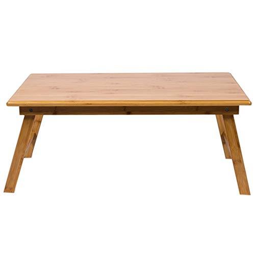 LLA staan 100% beweegbare bamboe laptop opvouwbaar bureau dienblad opklapbare poten klapbed laptop spelen op nachtkastje, 60 x 40 x 25 cm