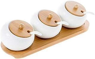 SHYPT 3Pcs / Set Pot à épices en céramique Peut Assaisonnement Saunière Pepper Container Spice Organisateur Condiments Boî...
