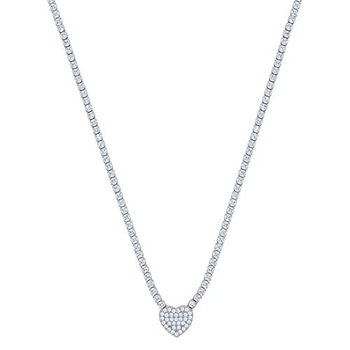 Collar de plata de ley 925 con circonita cúbica y diamante de imitación con eslabones de rolo y corazón, mide 8,9 x 8,9 mm de ancho para joyas para mujeres