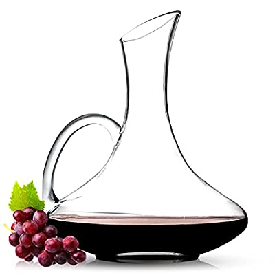 Wine Decanter - Crystal Glass Carafe With Handle - Gift Accessory Set for Wine Enthusiasts - Aerator For 750 ml Bottle - For Reducing Tannins And Increasing Flavor For Red and White Wines.