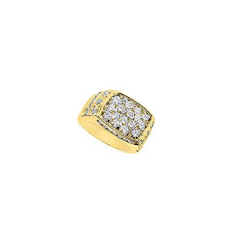 Mens Diamond Ring 14K Yellow Gold 2.65 CT Diamonds