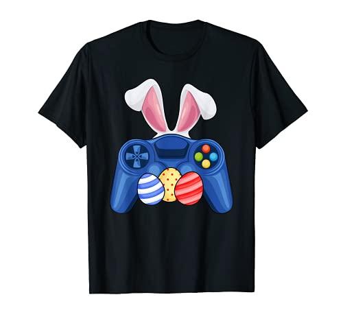 Controlador de Gamepad con orejas de conejo y huevos disfraz de Pascua Camiseta