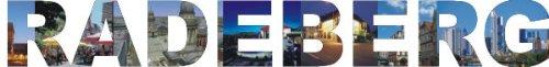 INDIGOS UG - Wandtattoo Wandsticker Wandaufkleber - Aufkleber farbige Wandschrift Städtename Städtename Radeberg mit Sehenswürdigkeiten 80 x 10 cm Länge