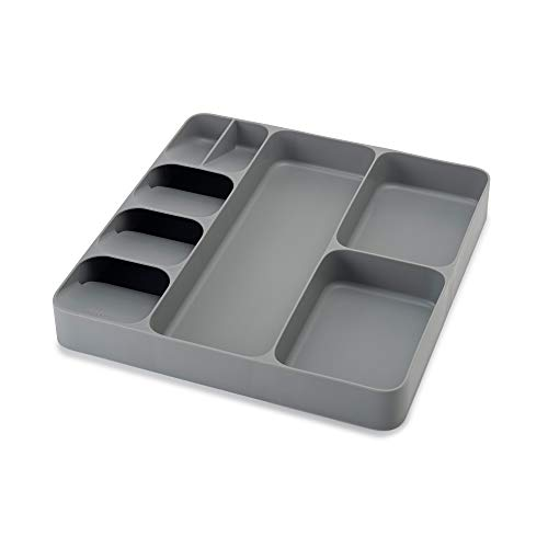 Joseph Joseph 85127 DrawerStore Organizer Tray, Utensil and Gadgets, Gray, 15.6 x 15.1 x 2.1 Inches (Pack of 1)