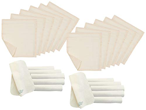 Bio Baby Molton & Mull-Waschlappen 100% Bio-Baumwolle (kbA) GOTS zertifiziert, 24er-Set