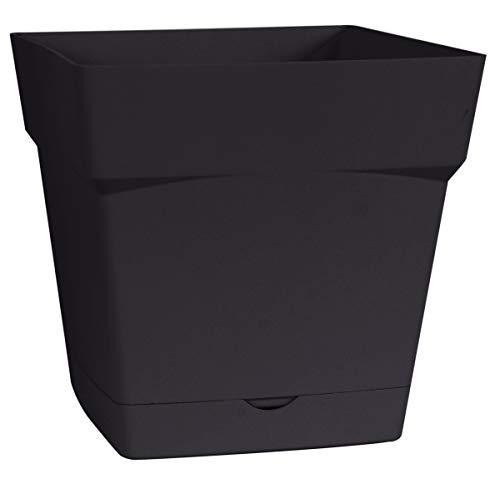 EDA Plastiques - Pot de fleur - Pot de fleur Toscane avec soucoupe 17,4x17,4x17cm carré - 3,4L - Vert matcha