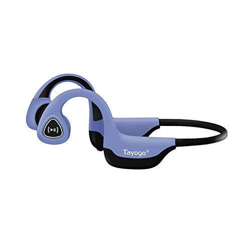 Tayogo Bone Conduction Headphones with Microphone Bluetooth 5.0 Open Ear Wireless Earphones for Running, Sports, Fitness - Blue