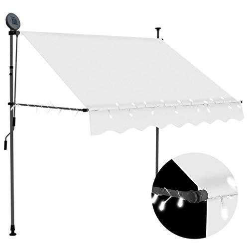Cikonielf Toldo Manual retráctil con Manivela, Toldo con Solar LED para Ventanas Plegable 150 x 120cm, Protección Solar y Lluvia, Altura Ajustable 2-3 M, Crema
