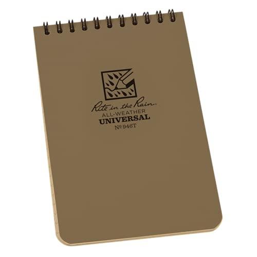 Rite in the Rain Toutes Saisons Top-Spiral Ordinateur Portable, 10,2x 15,2cm, Marron, Housse Universelle Pattern (N ° 446), Pocket Notebook, Marron Clair, 4 x 6 inch