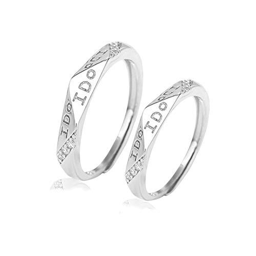 Aartoil Par de anillos para él y sus juegos de anillo de compromiso S925 plata CZ Rhombus grabado I anillos para hombre y mujer 2 unidades ajustables plata