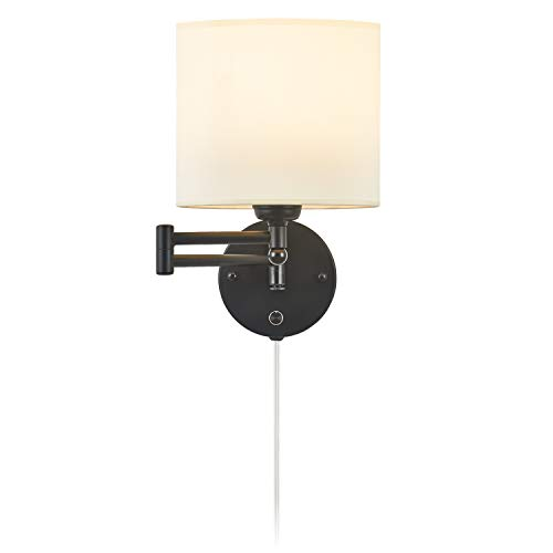 Swing Arm Wall Sconce 7' Shade Width Plug in Wall Mount Opaque Ivory Linen Shade 40W 2-Way Installation(1 Light)