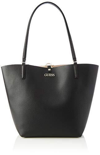 Guess Alby Toggle Tote, Bags Satchel Donna, Black/Stone, One Size