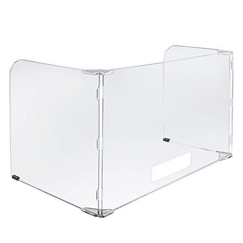 Vergo Desk Plexiglass Sneeze Guard Divider 3-Sided Acrylic Protection Shield (47' W x 23-1/2' H)