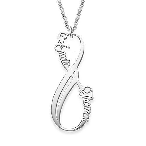 925 Sterling Silber Unendlichkeit Namenskette mit Wunschnamen personalisiert nach Maß mit 2-4 Namen für Paare, Ehefrau, Mutter, Freundin