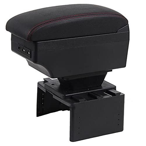 FATEGGS Reposabrazos para Seat Leon Mk2 caja de apoyabrazos central Caja de contenido de tienda Caja de almacenamiento Apoyabrazos (Color: B línea negra roja)