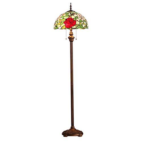 LHFJ Tiffany de pie Lámpara de pie vitral de Rose roja Mariposa Hojas Verdes Cortina de lámpara de Lectura para el Dormitorio Sala de Estar Sofá conmutador de extracción del Cable