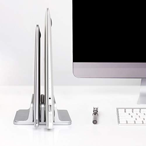 JARLINK (Upgraded Dock Version) Vertical Laptop Stand, Double Desktop Stand Adjustable Laptop Holder (up to 17.3 inches) Compatible with All MacBook Pro/Air/Microsoft Surface (Gray)