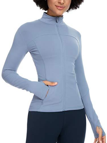 QUEENIEKE Womens Sports Jacket Turtleneck Slim Fit Full-Zip Running Top Size XS Color Serenity