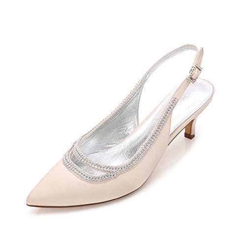AQTEC Zapatos de tacón para Mujer Puntiagudos de satén con Hebillas y Tiras en la Parte Trasera De tacón bajo Zapatos de Novia de Boda de Salon,Champagne,36 EU