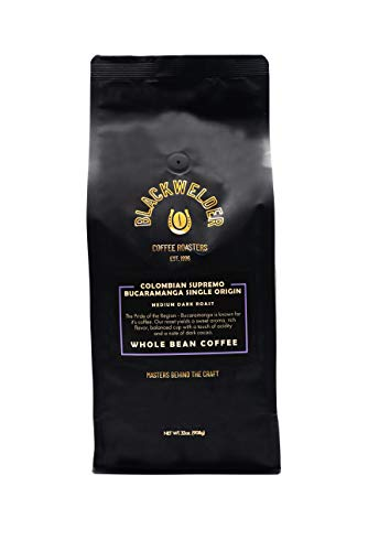 Blackwelder Coffee, Single Origin Whole Bean Colombian Supremo Bucaramanga, Fresh Roasted Small Batch (2lb Bag)