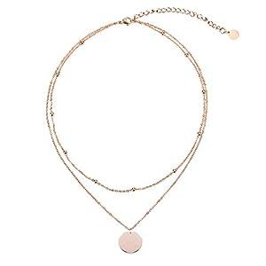 LEGITTA Damen Layered Zweireihige Kette mit Runder Plättchen Anhänger in Rosegold Zarte Kreis Mehrreihige Edelstahl Halskette aus Titan nickelfrei