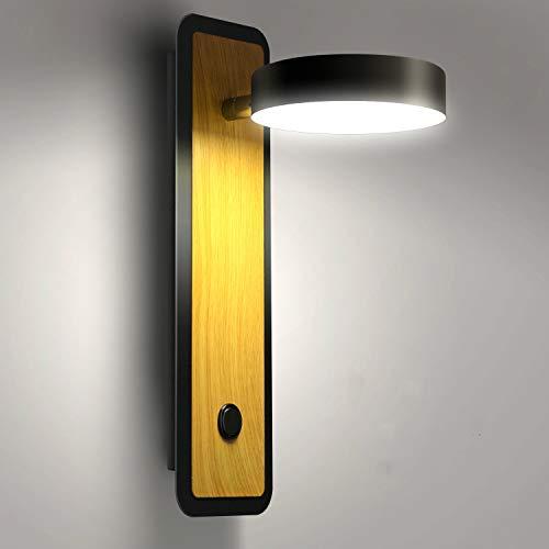 Lightess Apliques de Pared LED Interior 12W Regulable 3 Temperatura de Color Lámpara de Pared Dormitorio Luz Moderna Iluminación Madera para Escalera, Pasillo, Rotación de 360°, Voltear de 180°, Negro