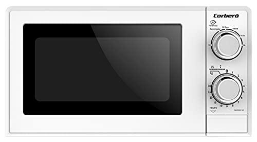 Corbero CMICG221W Microondas, Capacidad 20 Litros, Color Blanco, Potencia 700W, Función Descongelar, 6 Niveles Potencia, Control Mecánico, Temporizador de 30 Minutos, Plato Giratorio.