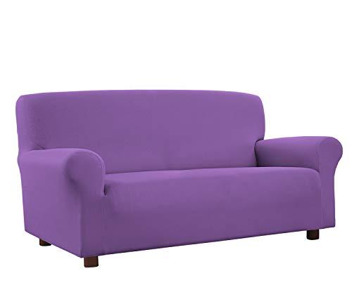 Banzaii Funda Sofa 4 Plazas Lila – Elastica Antimanchas – Extensible de 200 a 260 cm - Made in Italy 🔥