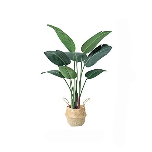 Árboles artificiales Planta tropical del árbol artificial de 47 pulgadas, plantas de palma falsas de imitación, árbol falso para jardín de la terraza de la terraza de jardín (hoja de plátano) Plantas