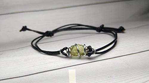 Real Raw Libyan Desert Glass on Wire Wrapped Cage in Stainless Steel- Copper- Bronze- Silver- 14K Gold- 14K Rose gold- or Black Niobium on a Leather or Waxed Cord Adjustable Friendship Bracelet