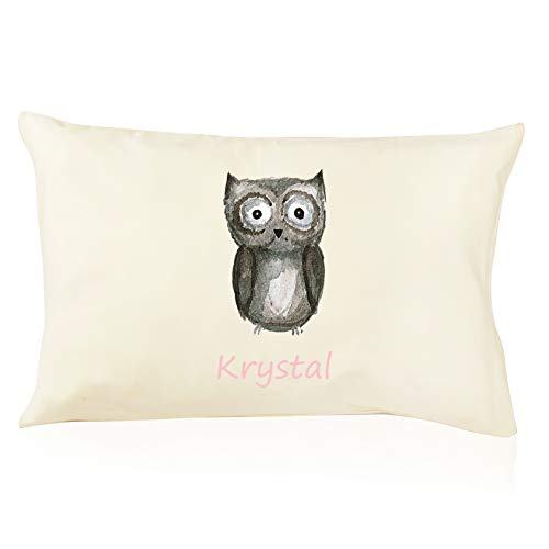 DorDor & GorGor Personalized Toddler Pillow with Watercolor Pillowcase, Ultra Soft Organic Cotton, Giftable Box, 13 X 18 inches, Baby Owl
