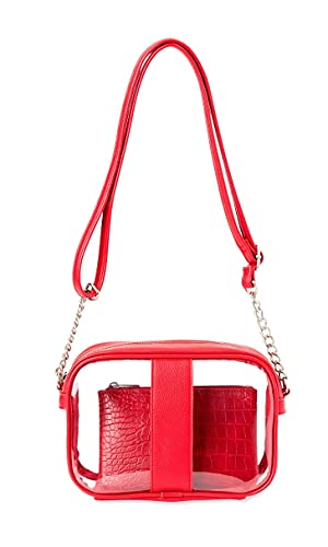 """Clear Camera Crossbody with Pouch Handbag, Stadium Approved, Transparent Purse Suitable for Work, Travel, Workout, Concert or Sporting Events. Dimension: length-9"""" Width-2.75"""" height -6.25"""". (Red)"""